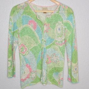 Sigrid Olsen Sport Lime Floral Knit Cardigan